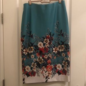 Blue Floral ECI Pencil Skirt